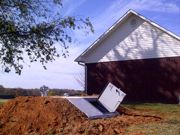 Leaking Garage Tent : Slope front storm shelter photo gallery in arkansas